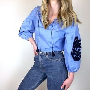 J. Crew Factory | Blue Embroidered Peasant Top